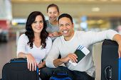 pic of boarding pass  - beautiful family at airport before boarding - JPG