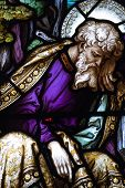 picture of crucifiction  - A Victorian stained glass window showing Saint James sleeping under the cross where Jesus Christ is being crucified - JPG