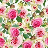 image of english rose  - Luxurious color seamless pattern with roses - JPG