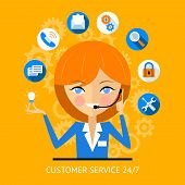 picture of social-security  - Customer service icon of a pretty smiling call center girl wearing a headset surrounded by various online web icons for payment  wifi  search  security and social media - JPG