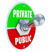 image of toggle switch  - Private vs Public words on a toggle switch to flip between privacy and shared information on a website or other channel or system for communication - JPG