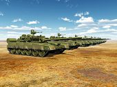 image of battle  - Computer generated 3D illustration with Russian Main Battle Tanks - JPG
