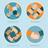 pic of joining hands  - Vector teamwork and cooperation concept in flat style  - JPG