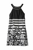 picture of mini dress  - Black and white mini sleeveless dress on white background - JPG