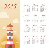stock photo of marines  - Marine calendar 2015 year with lighthouse vector - JPG