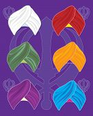 stock photo of turban  - an illustration of colorful turbans on a purple background with sikh symbol background - JPG