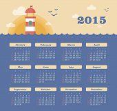 pic of lighthouse  - Marine calendar 2015 year with lighthouse vector - JPG