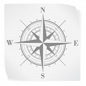 stock photo of compass rose  - Compass rose over white paper sticker isolated on white - JPG