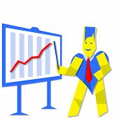 stock photo of ascending  - Business person heart man showing financial graph ascending - JPG