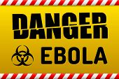 picture of dangerous  - Ebola Biohazard virus danger sign with reflect and shadow on white background - JPG