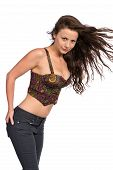picture of bustiers  - Pretty petite brunette in a bustier top and jeans - JPG