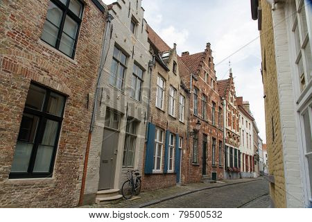 Bruges, Belgium, Flemish Old Street With Bicycle.