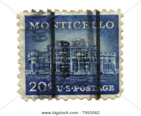 Us Postage Stamp On White Background Monticello