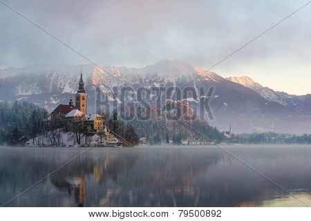 Lake Bled, the island and castle in winter morning