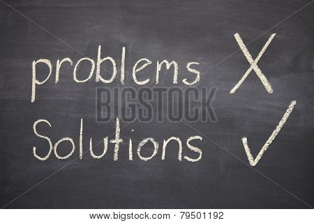 Problems And Solutions Written On A Blackboard