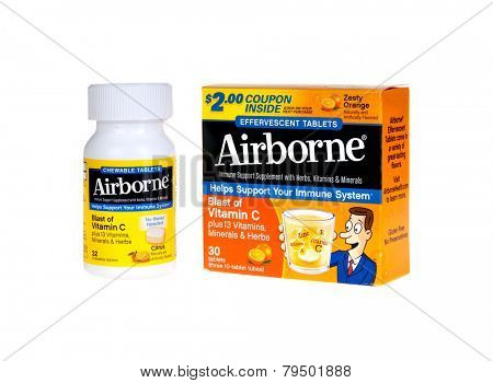 Hayward, CA - January 5, 2015: Packet and bottle of Airborne, a cold and flu preventative containing herbs and vitamin C