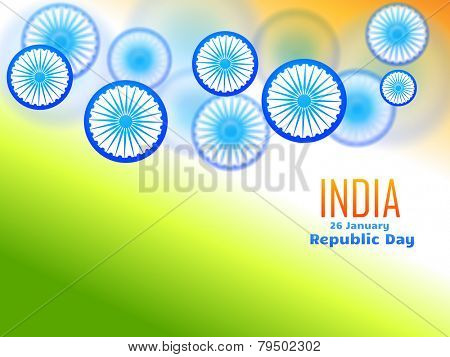 vector republic day design celebrated on 26 january made with wheel in tricolor background