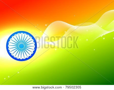 vector indian flag wheel with wave in tricolor background