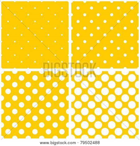 Tile vector white polka dots on yellow background pattern set