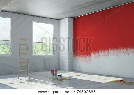 Red wall paint during renovation in an old loft building (3D Rendering)