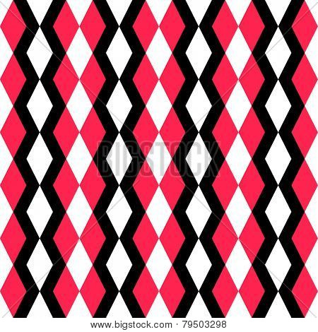 Abstract Rhombus Pattern. Seamless Regular Texture. Vector Black and Red Background
