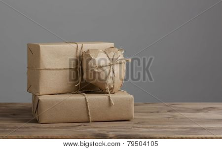 Heart And Box Wrapped In Brown Kraft Paper