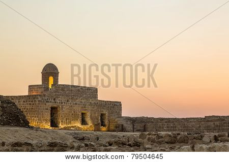 Old Bahrain Fort At Seef At Sunset