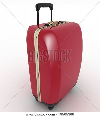 Suitcase for travel. 3d illustration over white