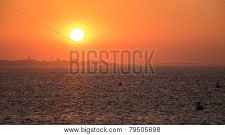 Skyline Of Jiddah At Sunset