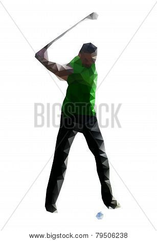 Golfer Teeing Off. Vector Drawing  Created From Triangles