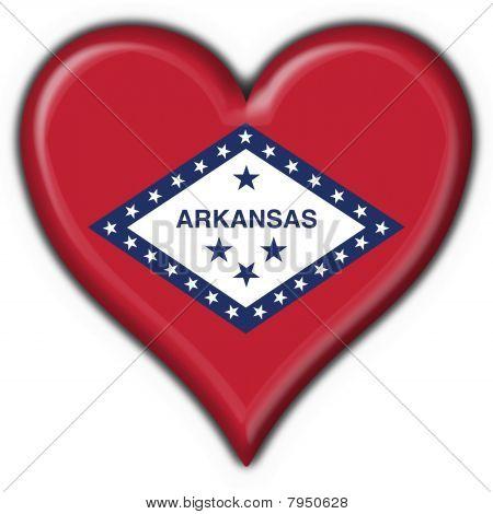 Arkansas (usa State) Button Flag Heart Shape