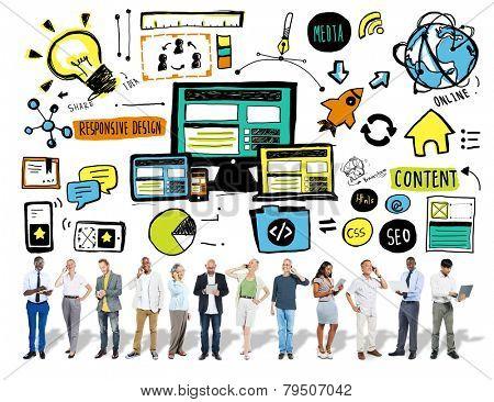 Business People Responsive Design Digital Communication Content Concept