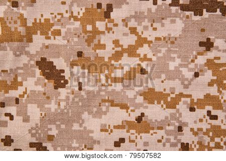 Desert Digital Camouflage Fabric Texture Background.