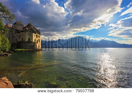 Lake in the mountains. The beginning of autumn in Montreux, Switzerland. Lake Leman in fine weather