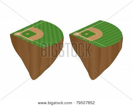 Baseball Fields With Diagonal Pattern Floating Islands