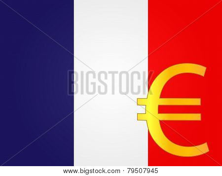 Euro Currency Sign Over The French Flag