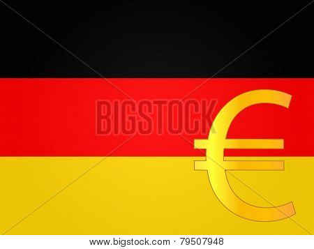 Euro Currency Sign Over The German Flag