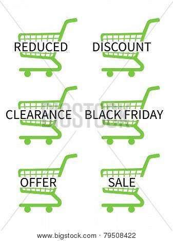 Green Shopping Cart Icons With Sale Texts