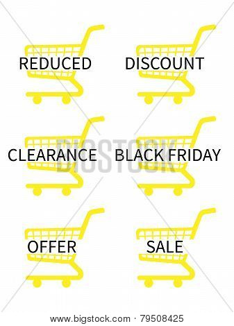 Yellow Shopping Cart Icons With Sale Texts