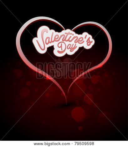 Valentine's Day Greeting Card with bokeh. vector illustration