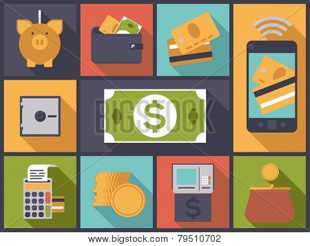 Flat design vector illustration with various money and personal finance icons