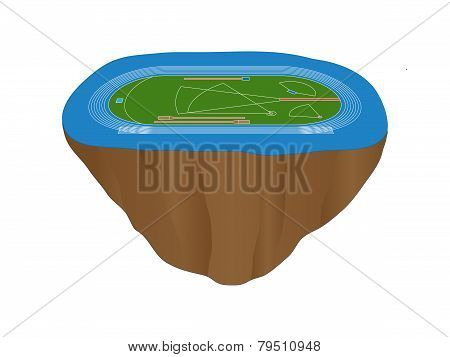 Athletics Field With Blue Track Floating Island