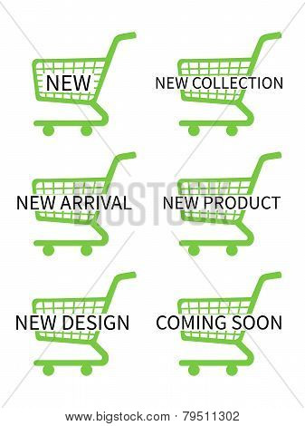 Green Shopping Cart Icons With New Arrivals Texts