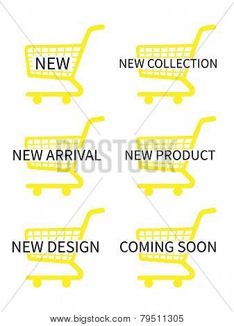 Yellow Shopping Cart Icons With New Arrivals Texts