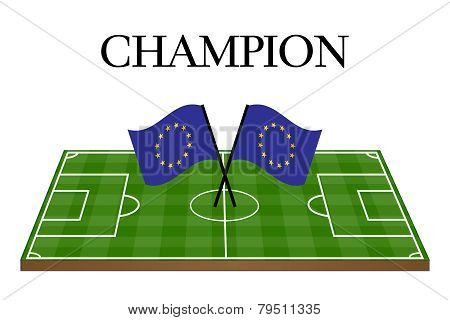 Football Champion Field With European Union Flag