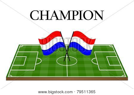 Football Champion Field With Dutch Flag