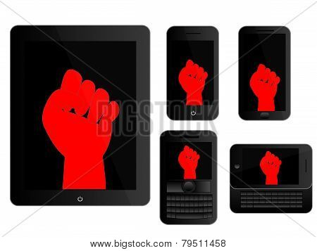 Mobile Devices With Red Protest Sign Black Icons