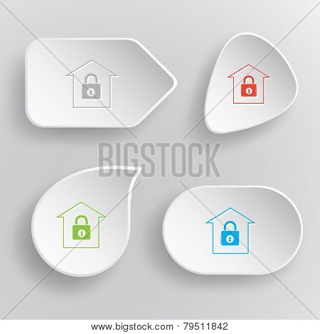 Bank. White flat vector buttons on gray background.