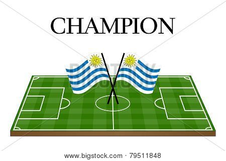 Football Champion Field With Uruguayan Flag
