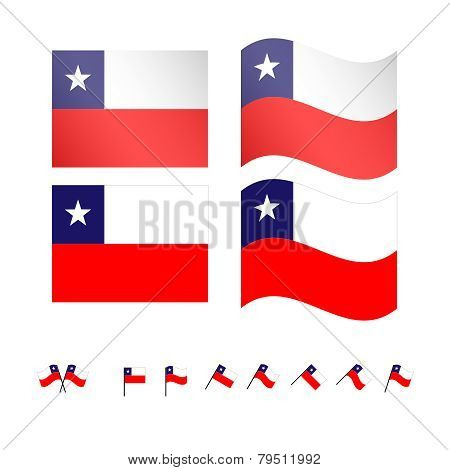 Chile Flags Eps 10